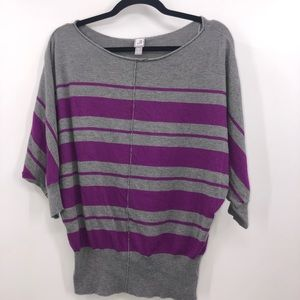 🍒 JCP Dolman Sleeve Purple Striped Blouse